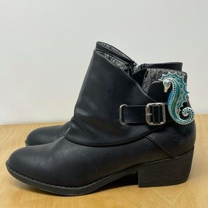 Blowfish Black Vegan Leather Ankle Boots Size 7.5